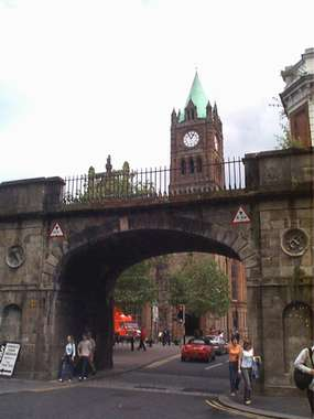 Shipquay Gate with Guildhall in background - Londonderry